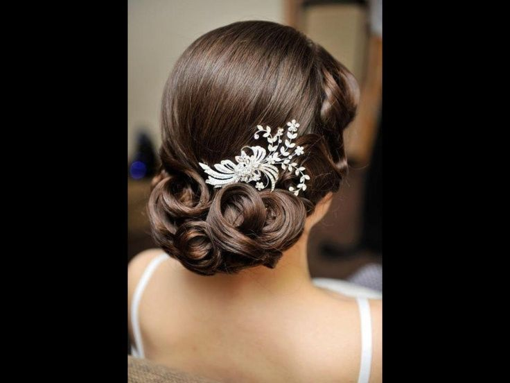 Textured Chignon With Finger Waves Down The Side Vintage Wedding Hair Bridal Brunette Curls