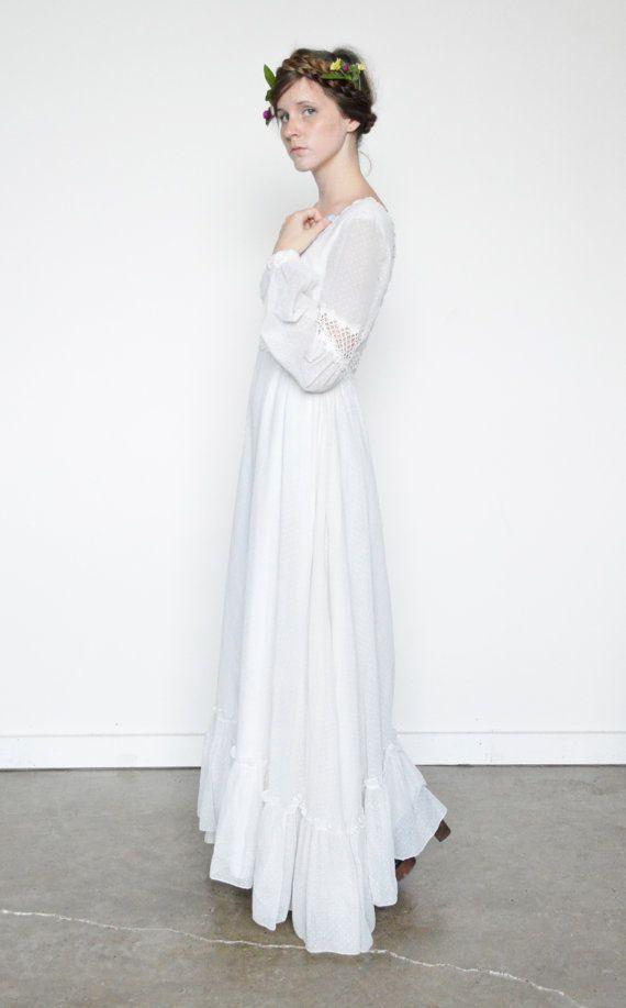 60s white boho wedding dress prairie dress by shopfuture on etsy