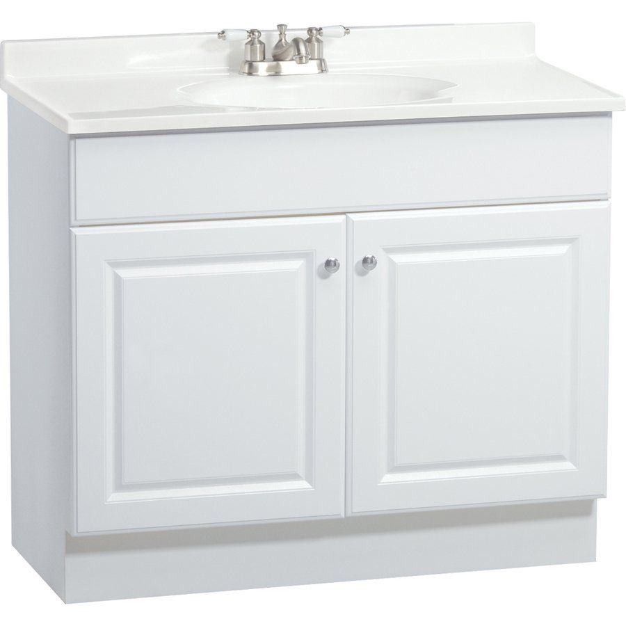 Project Source C14 White Integral 1 Bathroom Vanity with Cultured ...