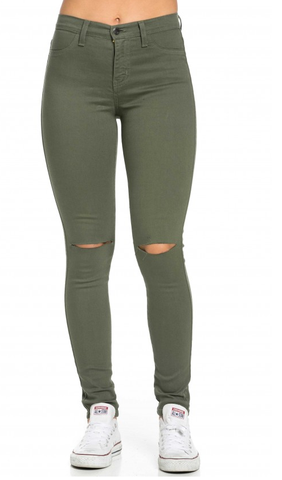 High Waisted Knee Slit Jeans in Olive | Clothes I need | Pinterest ...