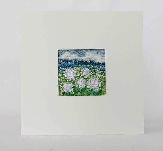 Embroidered dandelion fiber art card  4.75 inches square art