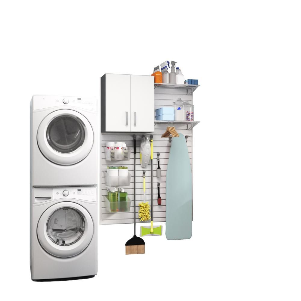 Modular Laundry Room Storage Set With Accessories In White 16 Piece