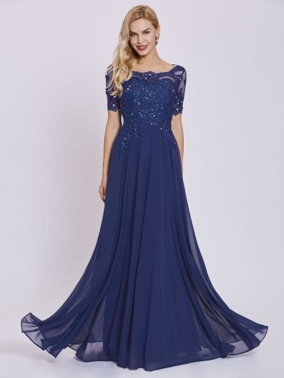 Scoop Neck Short Sleeves Beaded Appliques A Line Evening Dress ...