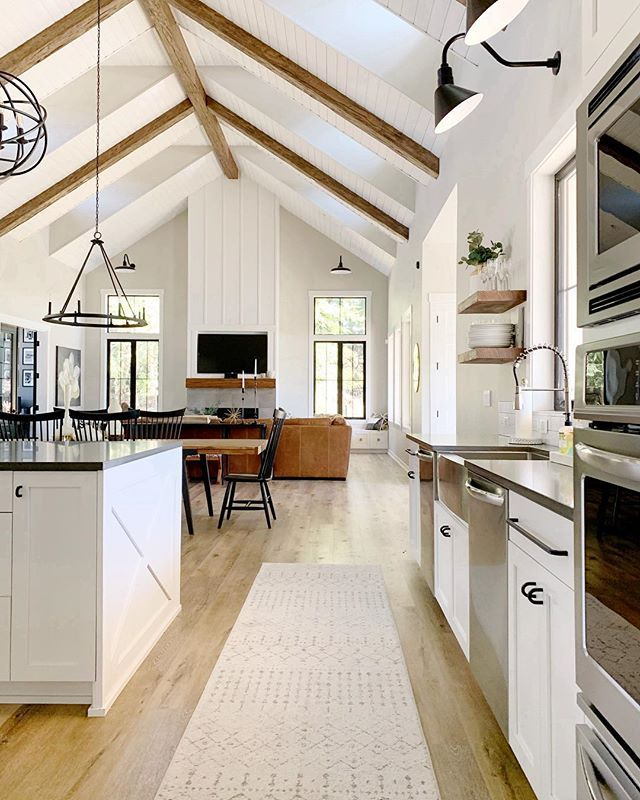 Simple Open Concept. Not Alot Of Clutter, Exposed Beams