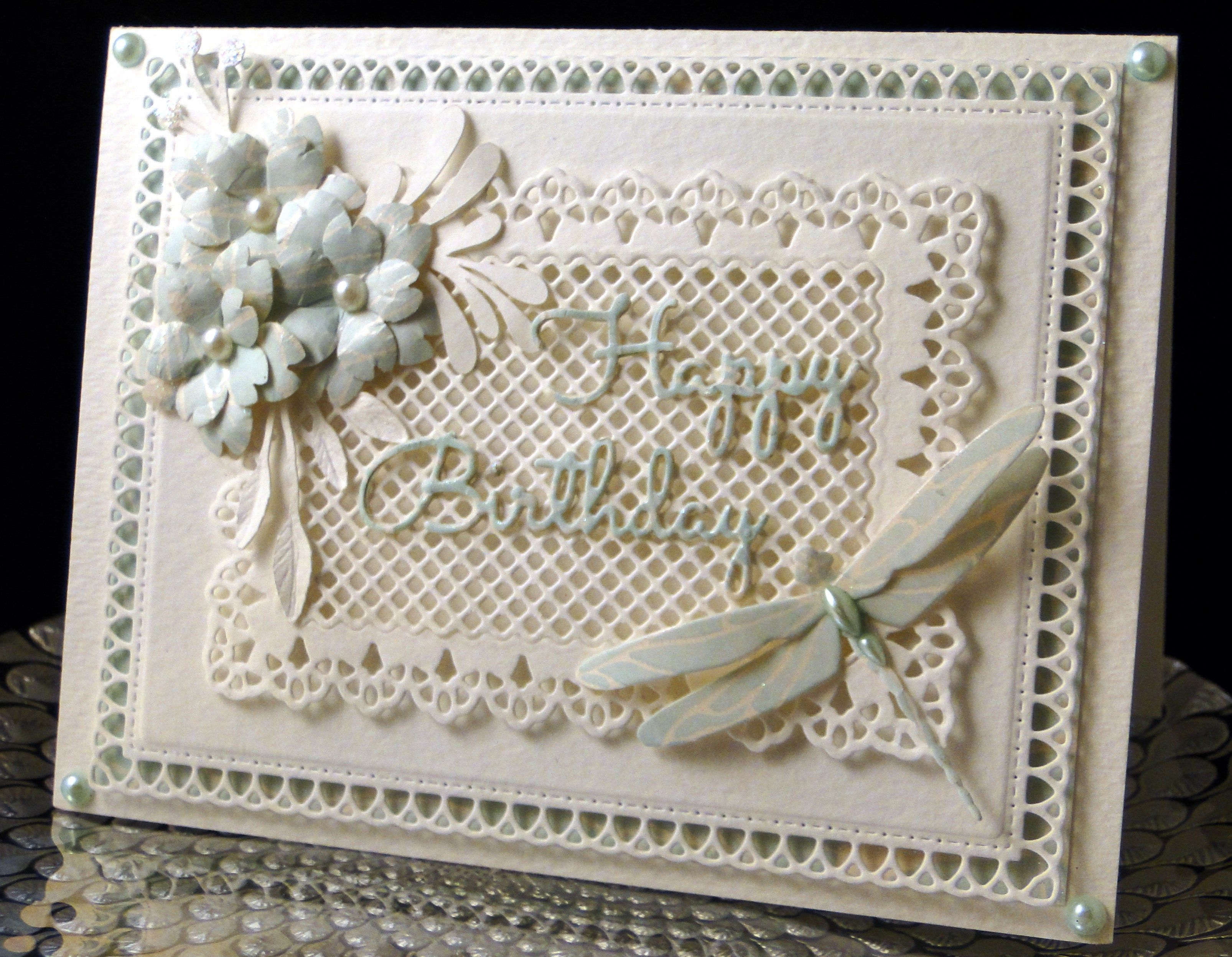 Bday card for Pam September 2016  The dies used for framing and base behind sentiment are by Gina Marie, Sentiment IO. The dragonfly is Memory Box. Flowers made  with Punch Bunch punches. The foliage was cut on the Silhouette. Made by Peggy Dollar