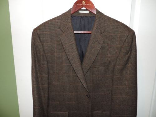 Alex Cannon Mens 100% Lambs Wool Brown Plaid Blazer SZ 40R Mint Quick Shipping (PreOwned)
