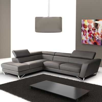 Wade Logan Downingtown Leather Sectional Leather Sectional Sofas