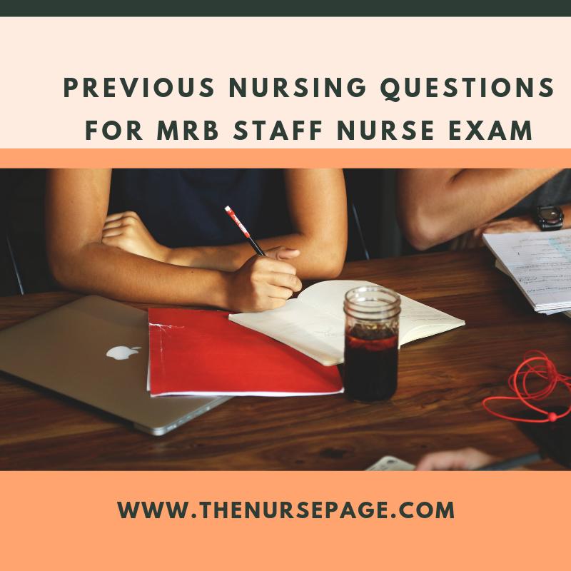 Selected nursing questions for preparing RRB, MRB, & JIPMER