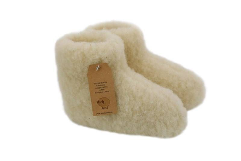 Woolwarmers wollen kindersloffen cremewit - Baby-Slofje