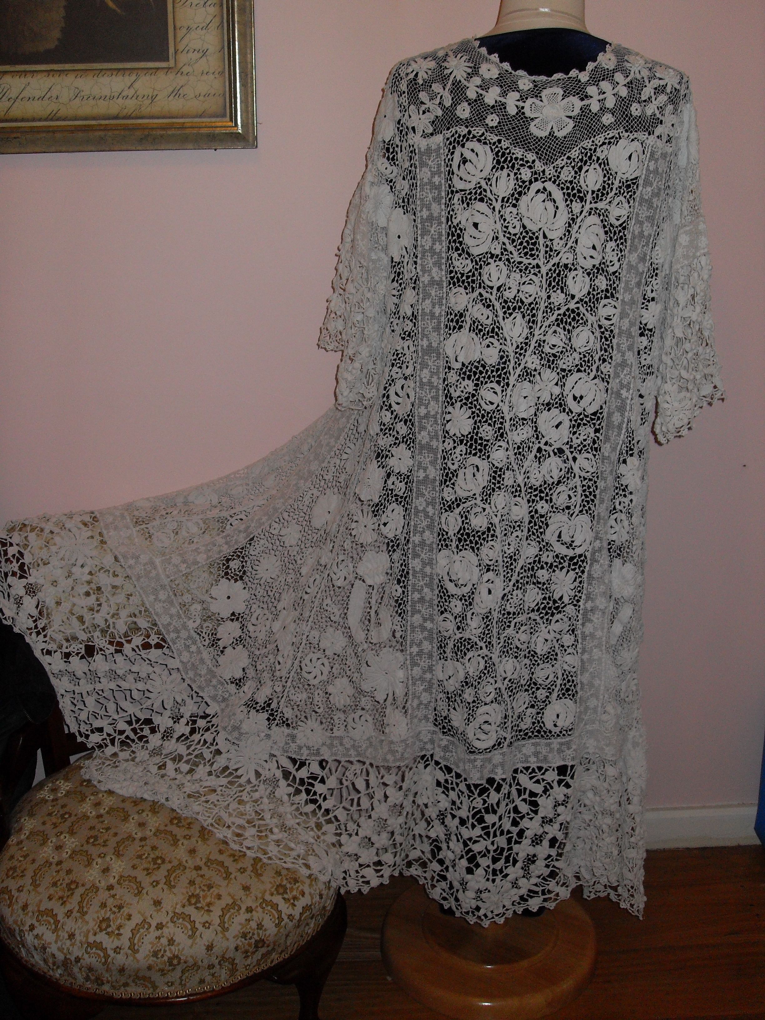 I brought this two years ago. I was in a terrible condition with large holes and very yellow. It took me 3 months to restore to its full glory. c1900. Irish Lace Coat.
