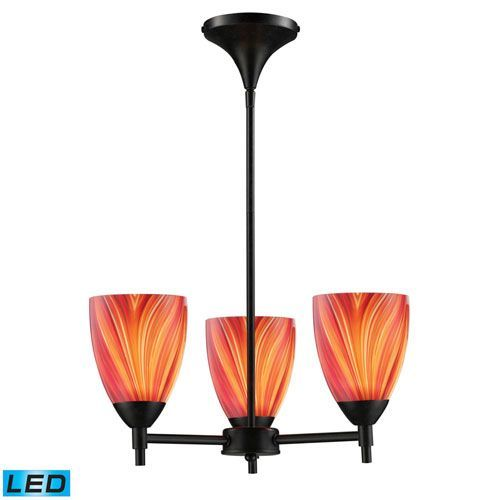 Celina Three Light Chandelier In Dark Rust And Multi Glass