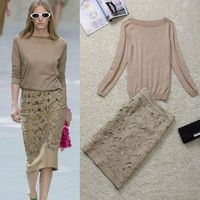http://www.aliexpress.com/store/product/Hot-selling-Knit-Long-Sleeve-Sweater-Hollow-Out-Embroidered-Slim-Skirt-Skirt-Suit-131202XD02/600416_1526205474.html  perfect beige skirt set