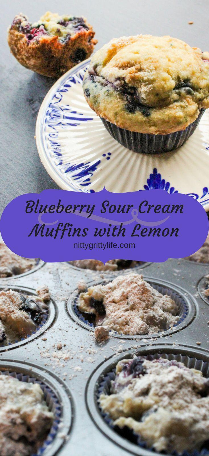 Blueberry Sour Cream Muffins With Lemon Recipe Sour Cream Blueberry Muffins Sour Cream Muffins Sour Cream