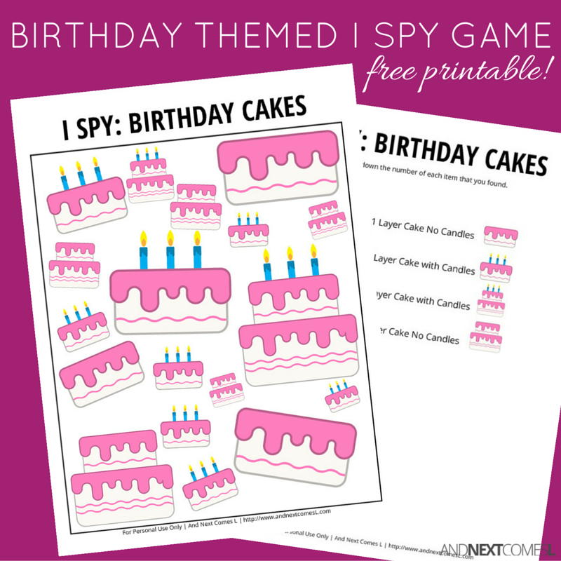 birthday themed i spy game free printable for kids
