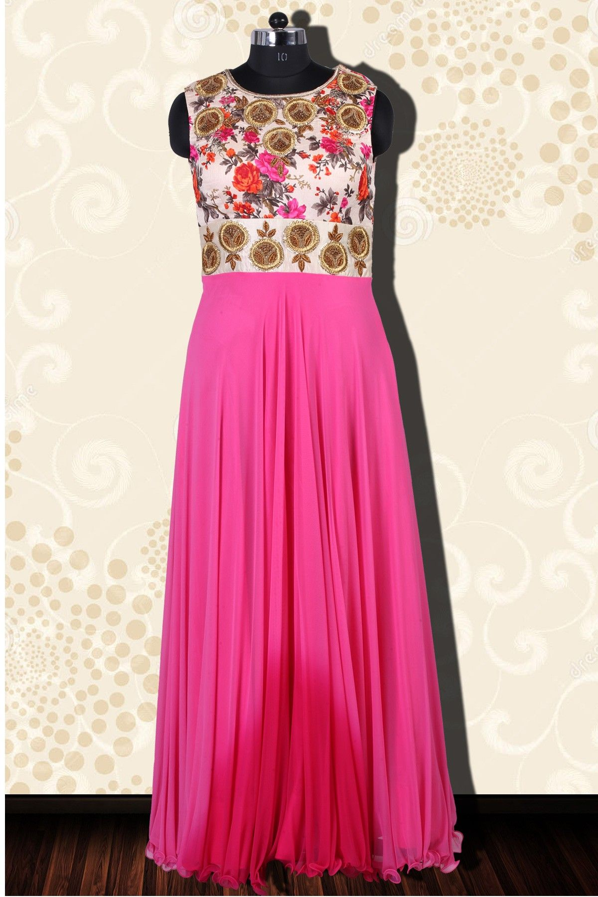 fe4fbbdac43618 Pink georgette floor length dashing sleeveless anarkali-SL3563  pink  floor   length