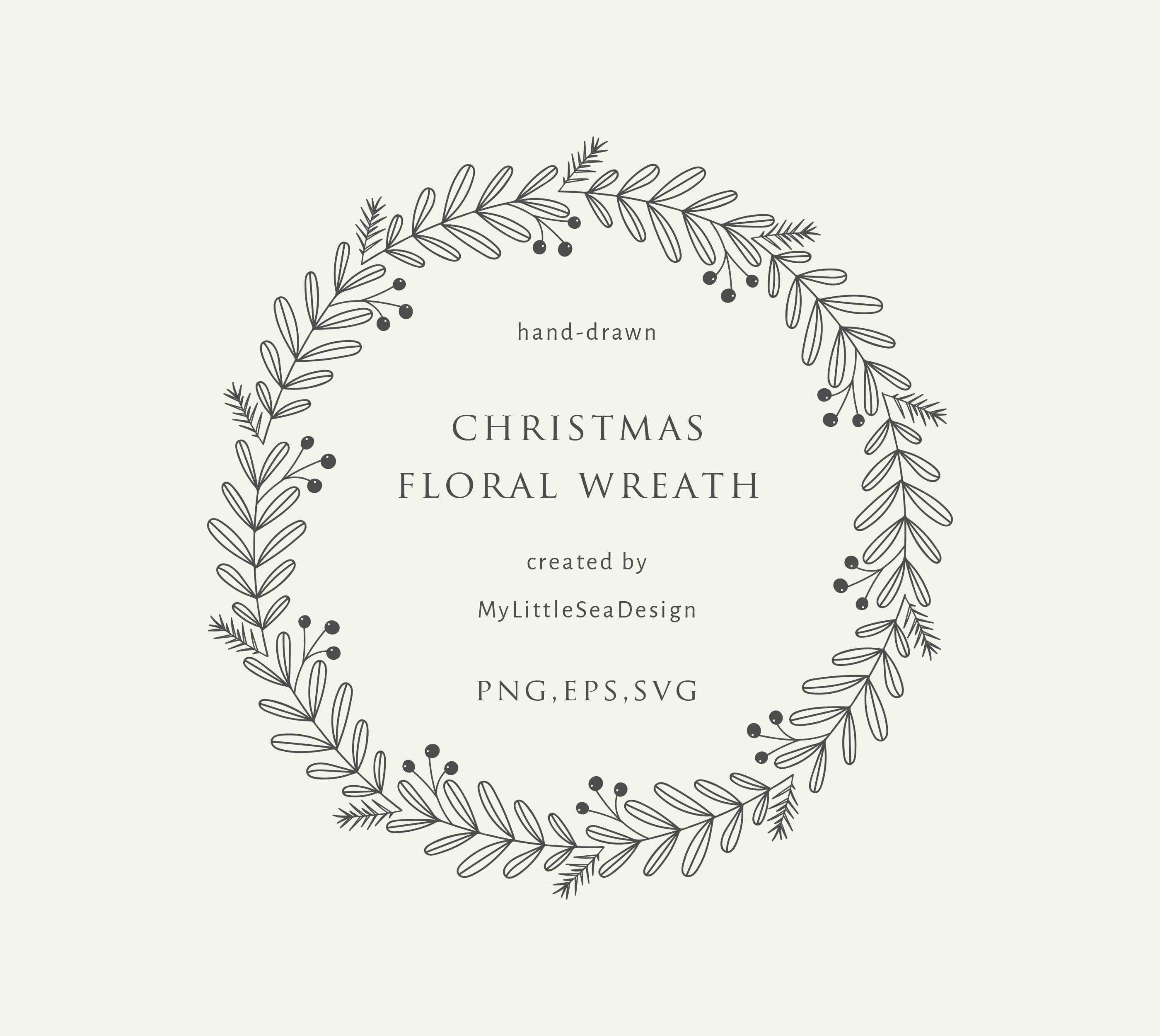 Christmas Floral Wreath Svg Winter Botanical Laurel Wreath Clipart Svg Vector Files Clip Art For Greeting Cards Wedding Invitations Wreath Drawing Floral Wreaths Illustration Hand Embroidery Art