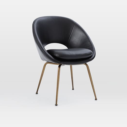 $399 Orb Leather Dining Chair   Black/Antique Brass | West Elm