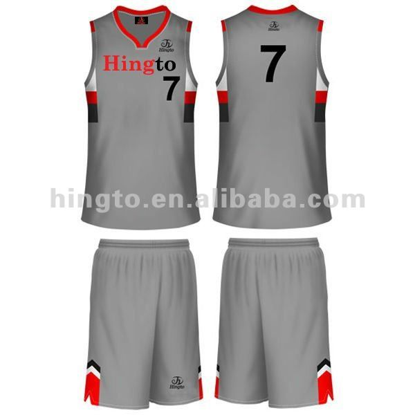 Gray White Red Basketball Uniforms Design Gym Shorts Womens Uniform Design