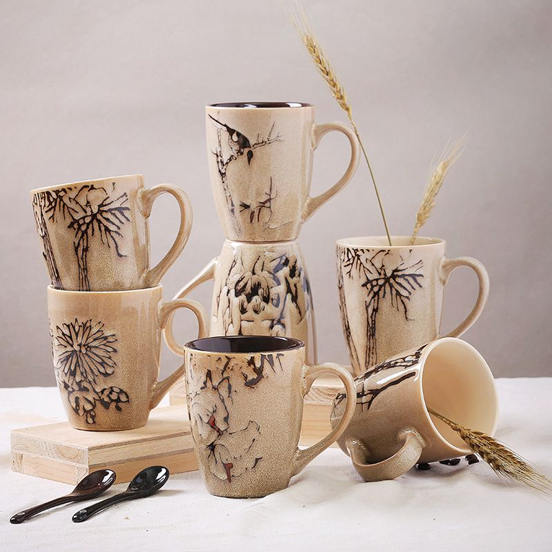 Aliexpress Com Buy Ceramic Coffee Cup With Handle Ceramic Cup With Forest Pattern 390ml Water Cups With 6 Pattern From Reliable Tableware Decorations Suppli