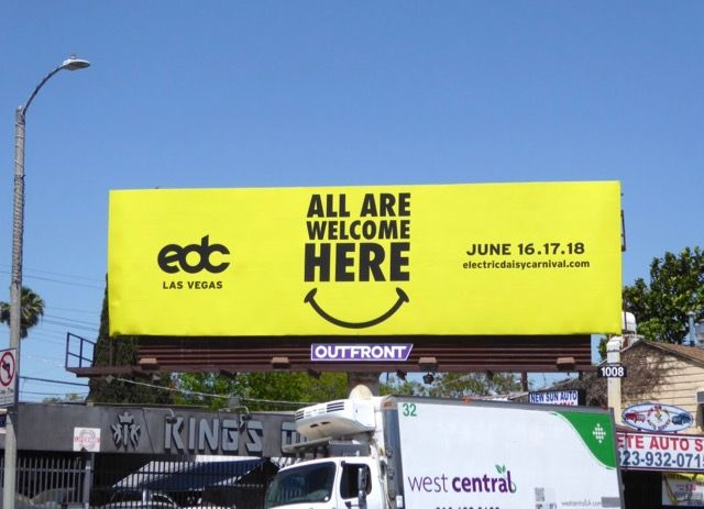 EDC Las Vegas All are welcome here billboard | Cool
