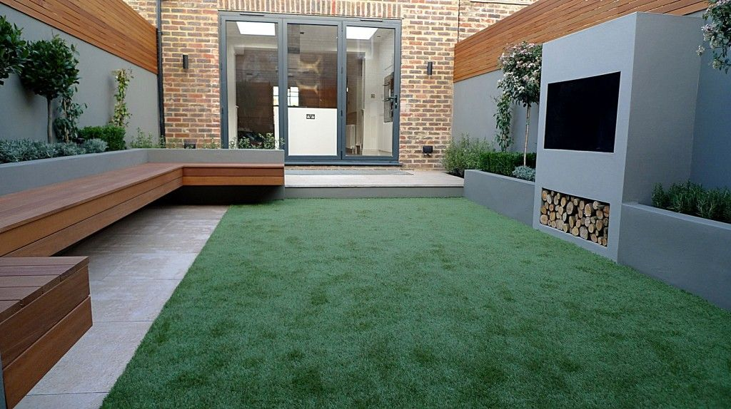 small garden design hardwood floating bench artificial grass outside fireplace bbq limestone