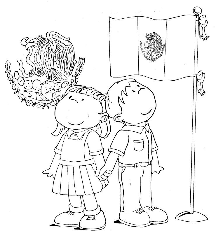 Mexican Flag And Shield Free Coloring Pages Bandera De Mexico