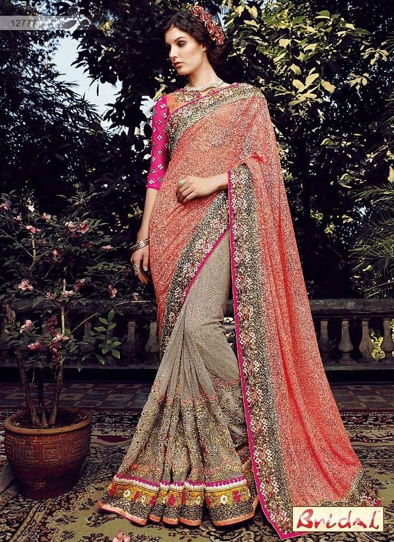 Net saree images admirable peach and grey net designer saree  party wear sarees