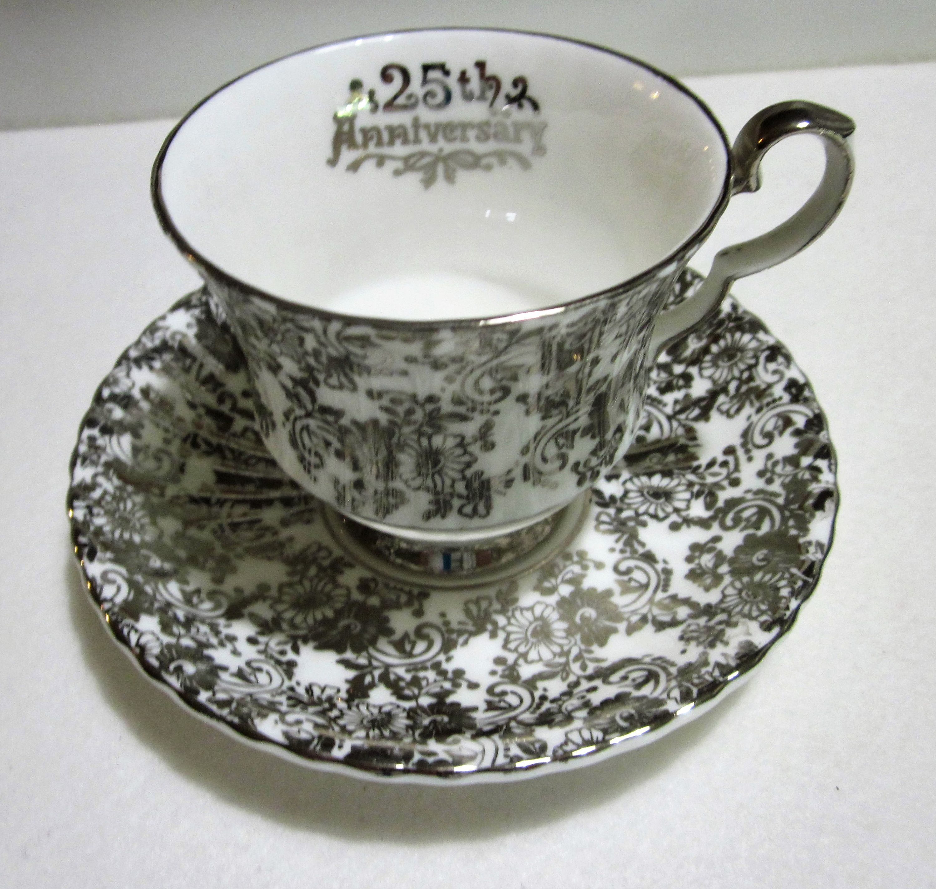25th anniversary teacup silver anniversary silver teacup