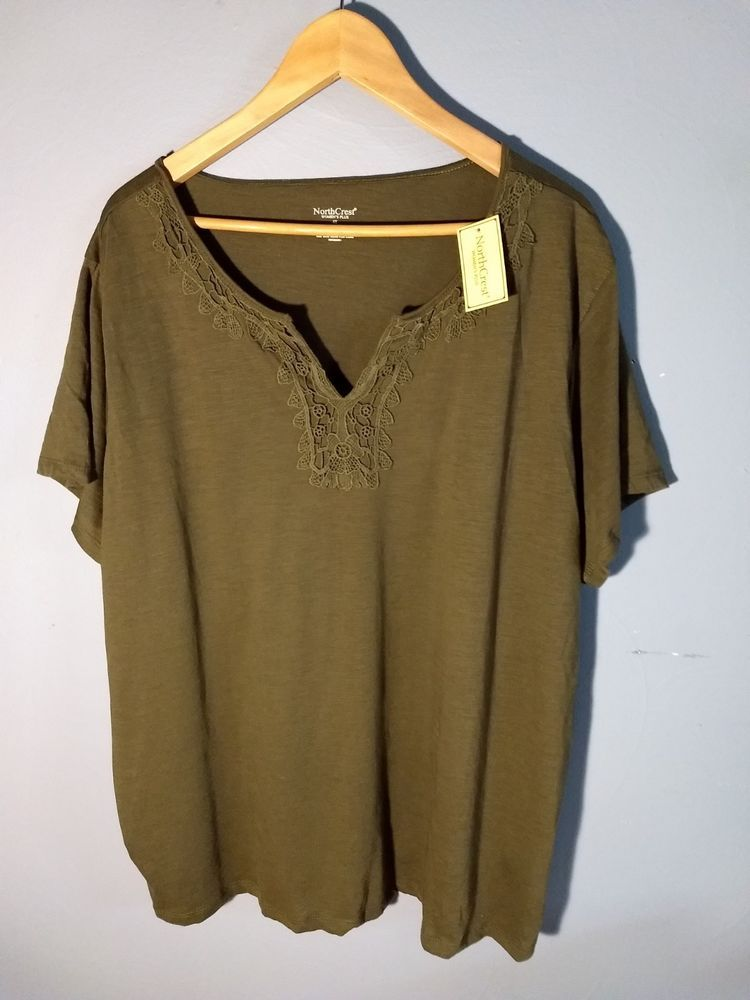 8fbc86327a3 Womens Plus Size Cute Olive Green Tee with Crocheted Detail Size 4X NWT   fashion  clothing  shoes  accessories  womensclothing  tops (ebay link)