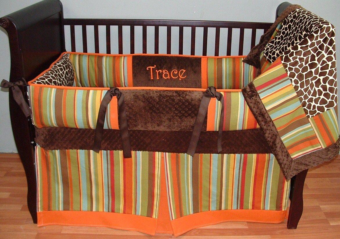 Madagascar Orange Baby Bedding This Custom 3 Pc Baby Crib Bedding Set Includes The Bumper Pad Crib Baby Crib