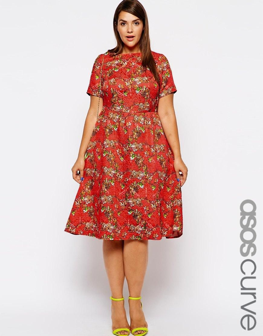 Curvy wedding guest dresses asos  ASOS Curve  ASOS CURVE Textured Floral Midi Dress at ASOS  Dresses