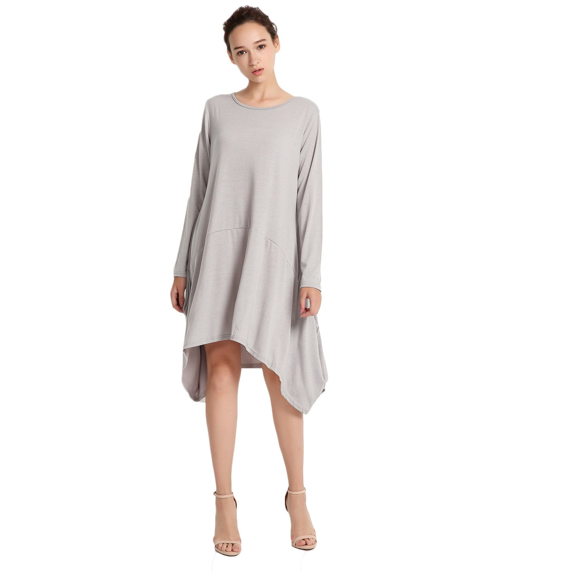 de8b420ee39 Vinteey Loose Maxi Dress Womens Long Sleeve Pockets High Low Pleated Loose  Swing Casual Midi Dress Gray XL     Be sure to check out this awesome  product.