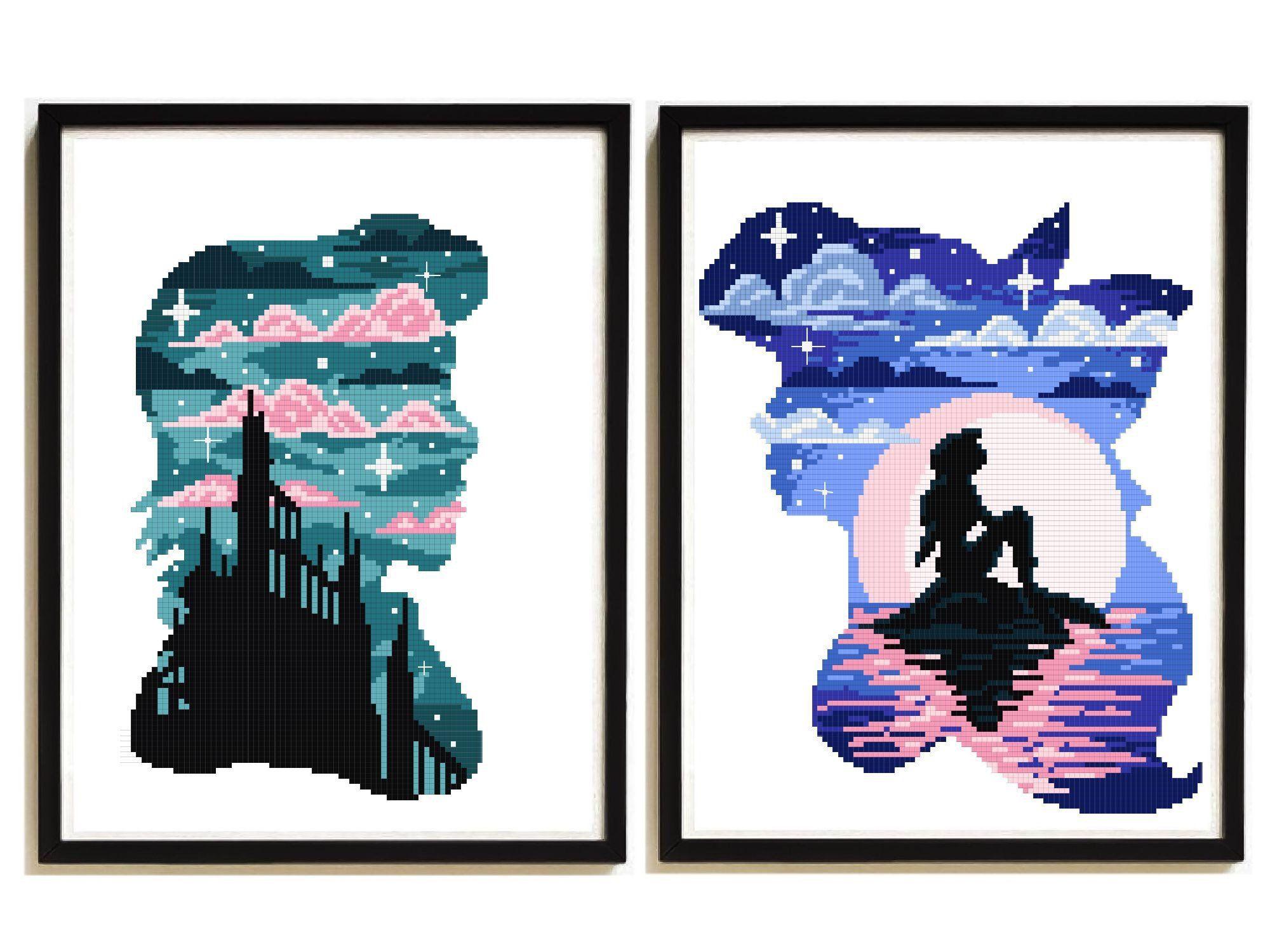 ariel disney modern cross stitch pattern, little mermaid disney princess,  castle counted cross stitch chart, baby, nursery decor,