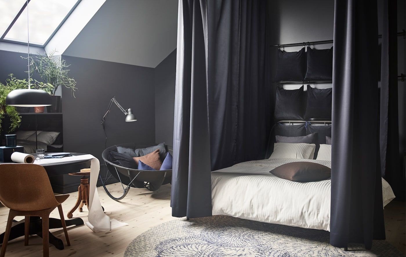 You Can Use Ikea Products To Make A Cocoon Bed Install A Track Rail System On The Ceiling Around A Bed Green Curtains Bedroom Sanctuary Bedroom Modern Bedroom