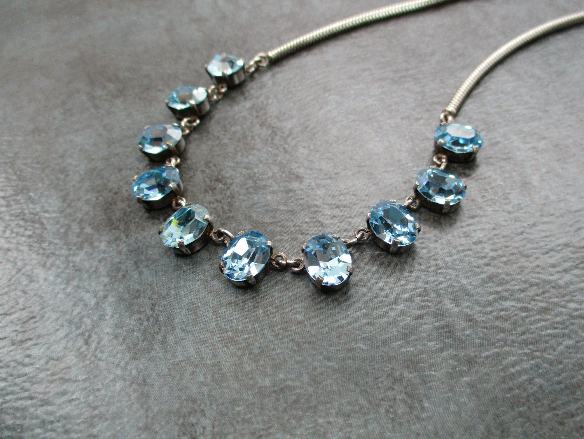 Vintage Blue Beaded and Rhinestone Choker Necklace-silver tone metal-hook clasp-rhinestone chain bridesmaid gift-something blue bridal gift