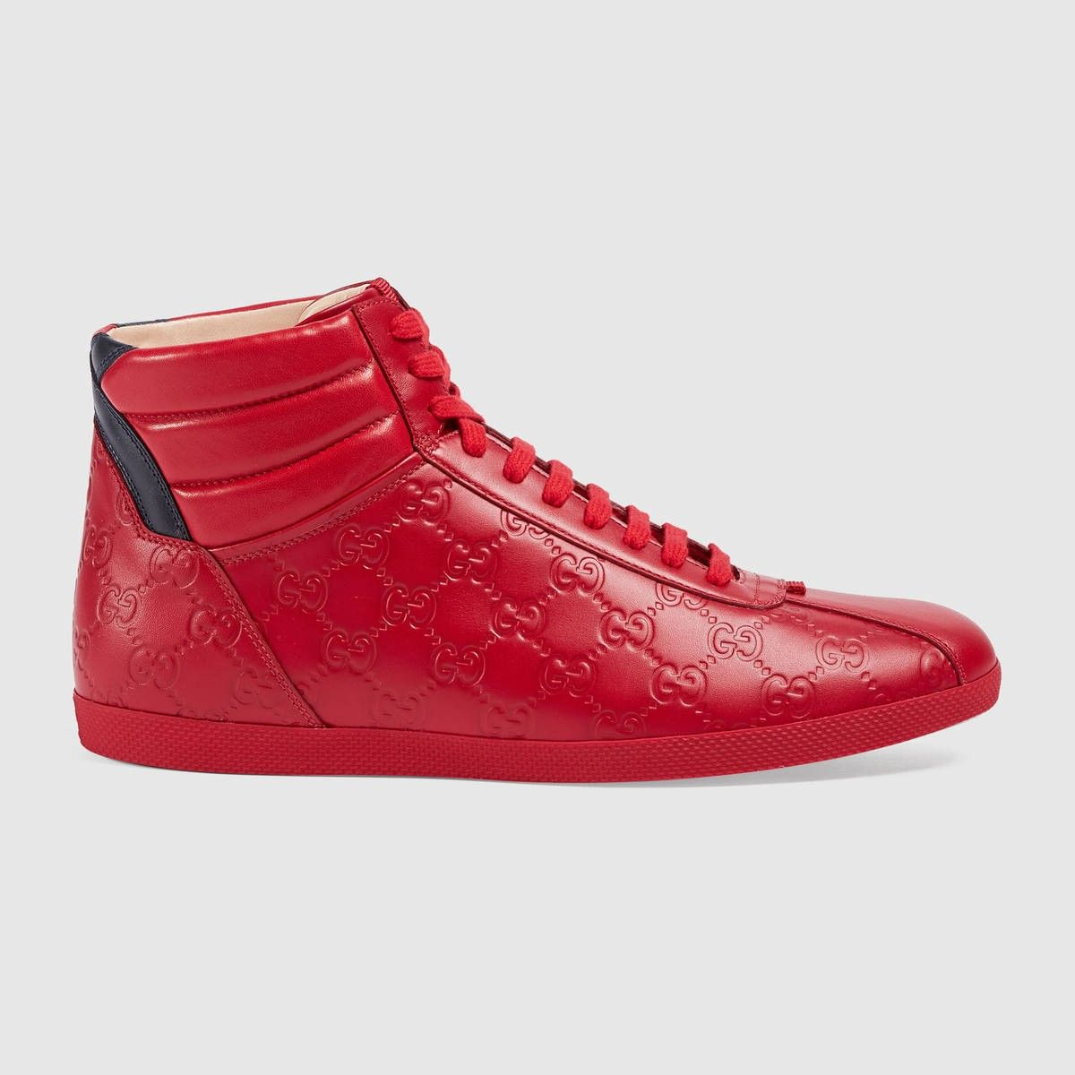 GUCCI Gucci Signature High-Top Sneaker - Hibiscus Red Gucci Signature. # gucci #shoes #all