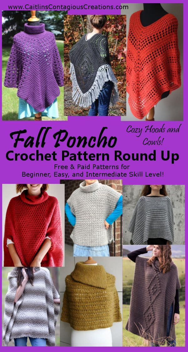 Fall Poncho Crochet Pattern Round Up - Caitlin's Contagious Creations