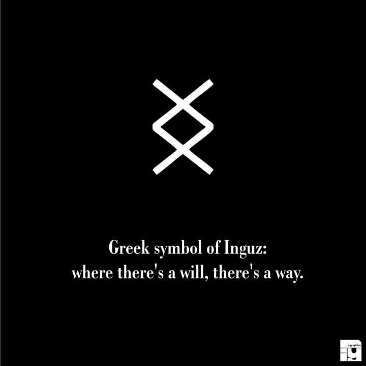 greek symbol of inguz where there 39 s a will there 39 s a way white witch pinterest tattoos. Black Bedroom Furniture Sets. Home Design Ideas
