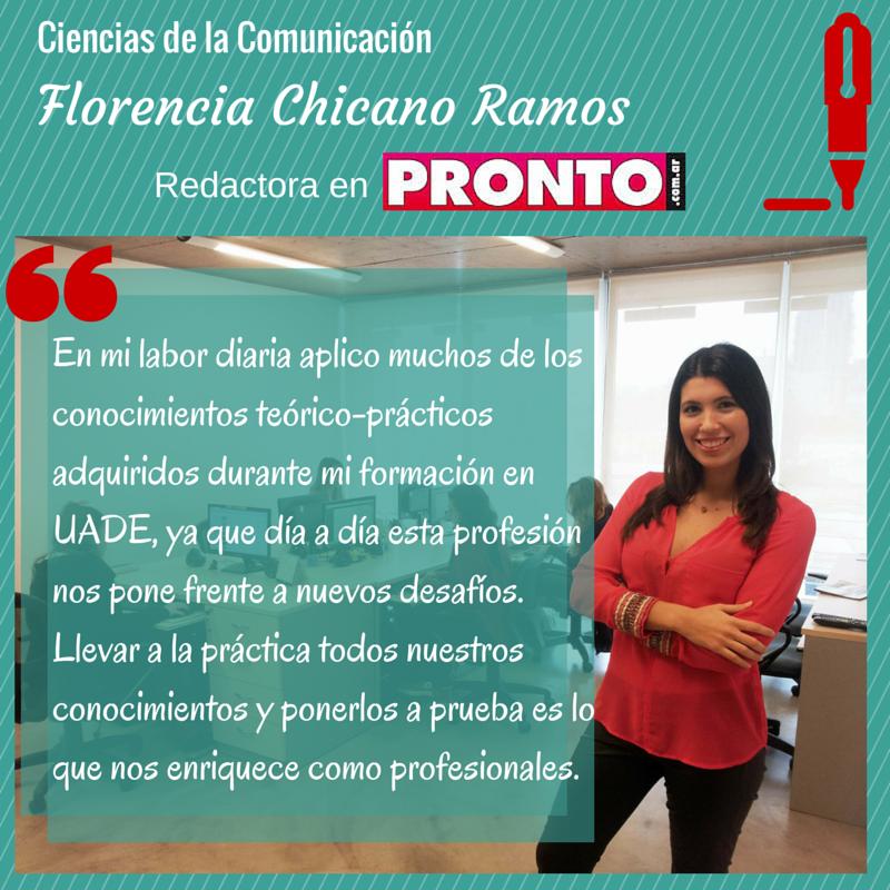 Florencia Chicano Ramos, alumna de la #Licenciatura en Ciencias de la #Comunicación, es redactora del sitio web de #Revista Pronto. #Periodismo #Universidad #Argentina