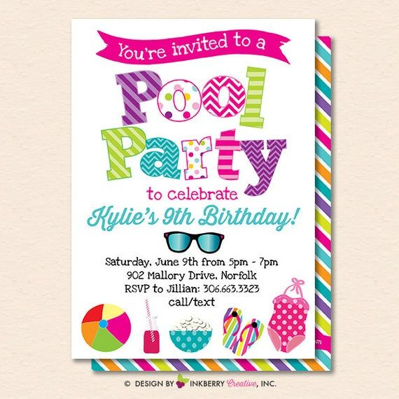 Pool Party Invitation - Summer Pool Party - Pool Birthday Party - Kids Pool Party - Printable, Insta #summerpoolparties