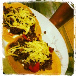 Home made tacos, soft corn tortilla and taco seasoning, yummmmmy!