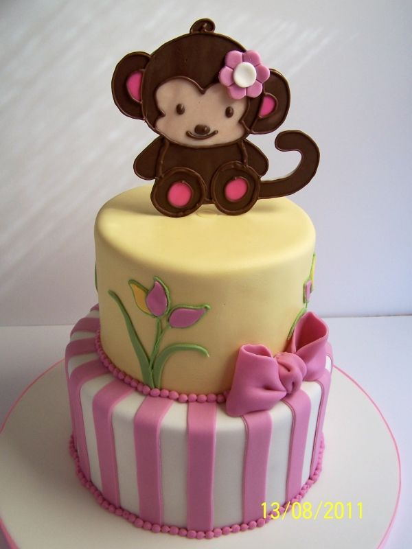 Cute Monkey Baby Shower Cake Cakes Beautiful Cakes For The