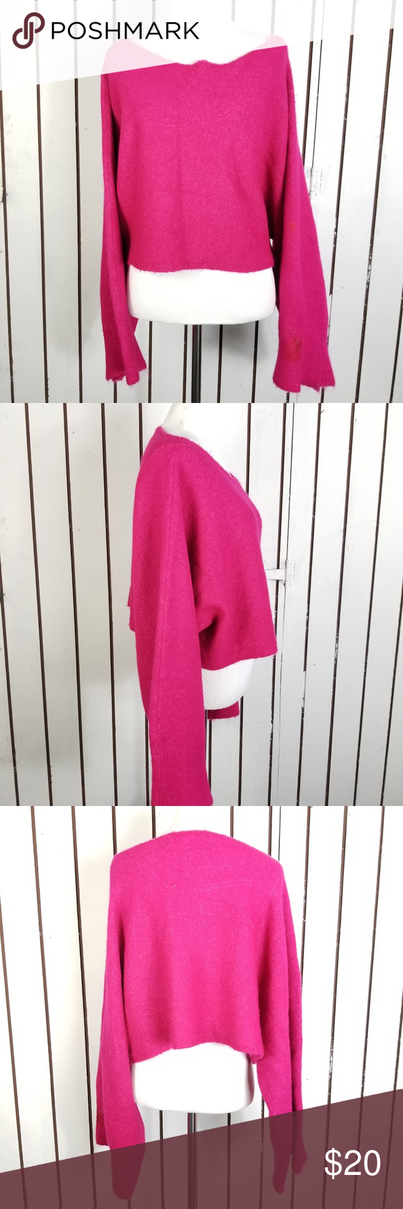 e34d0bf1 Zara chunkly cropped sweater hot pink size S Good condition, cropped ...