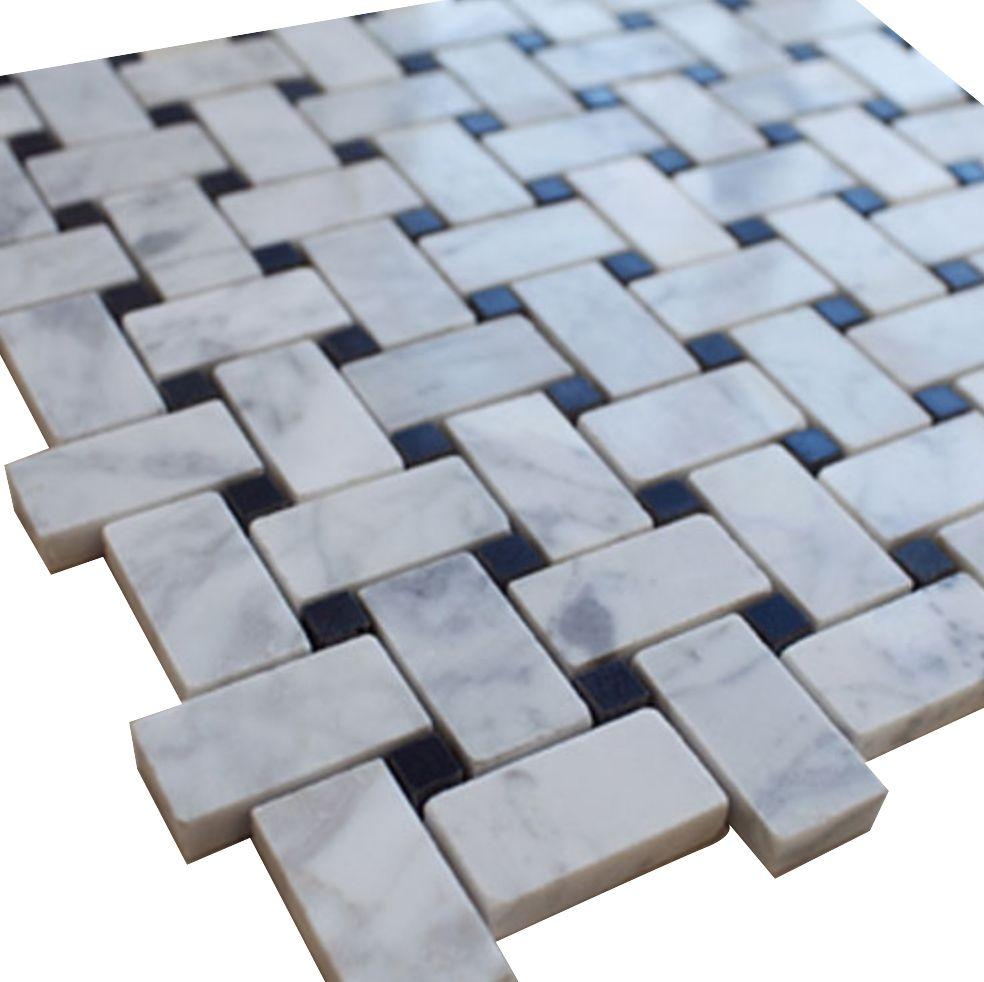 White Carrara Basketweave with Black Dots | Stone tiles, Carrara and ...