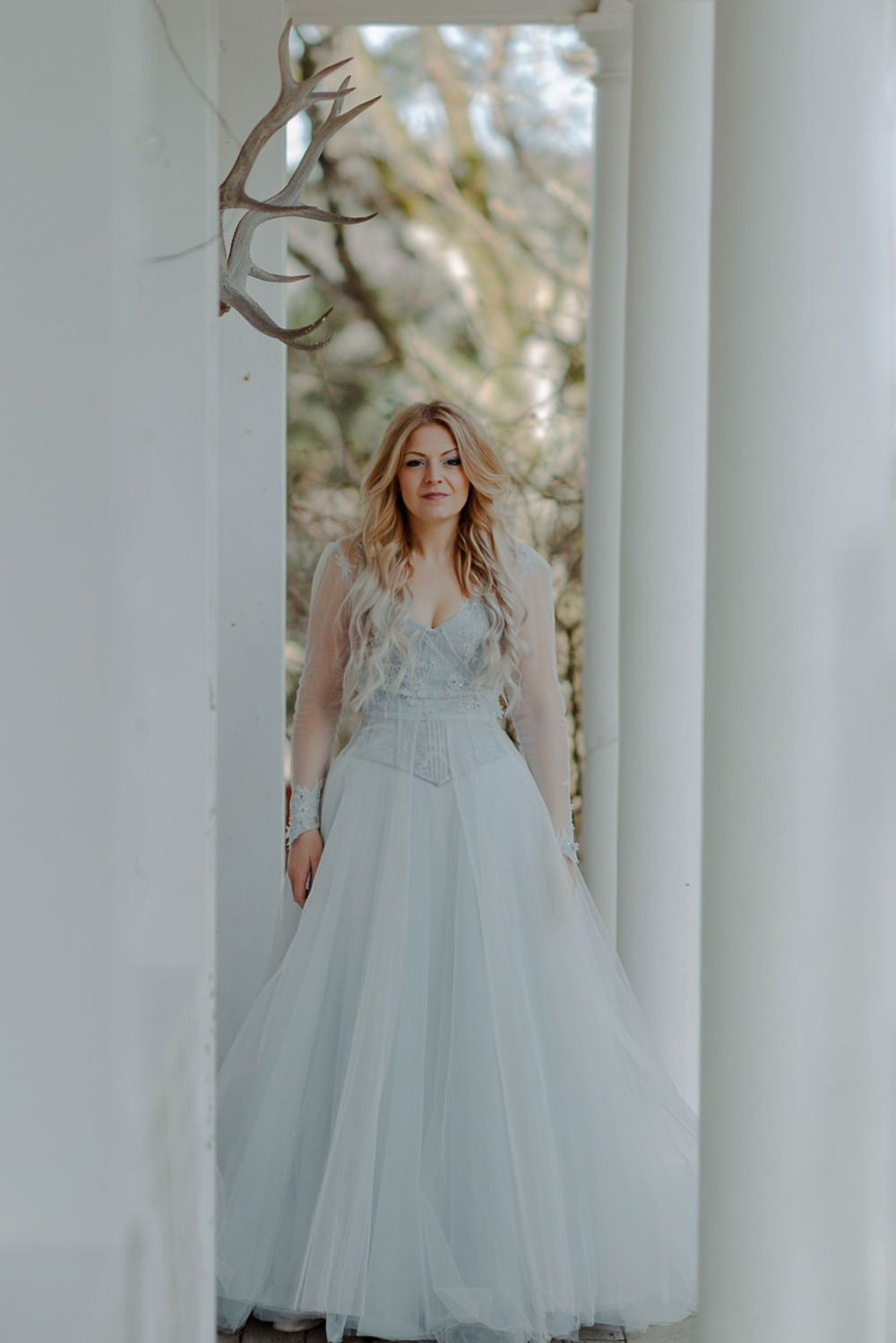 3599816739e Forest Trees Castle Loch House Bride Blue Corset Bespoke Gown House Antlers