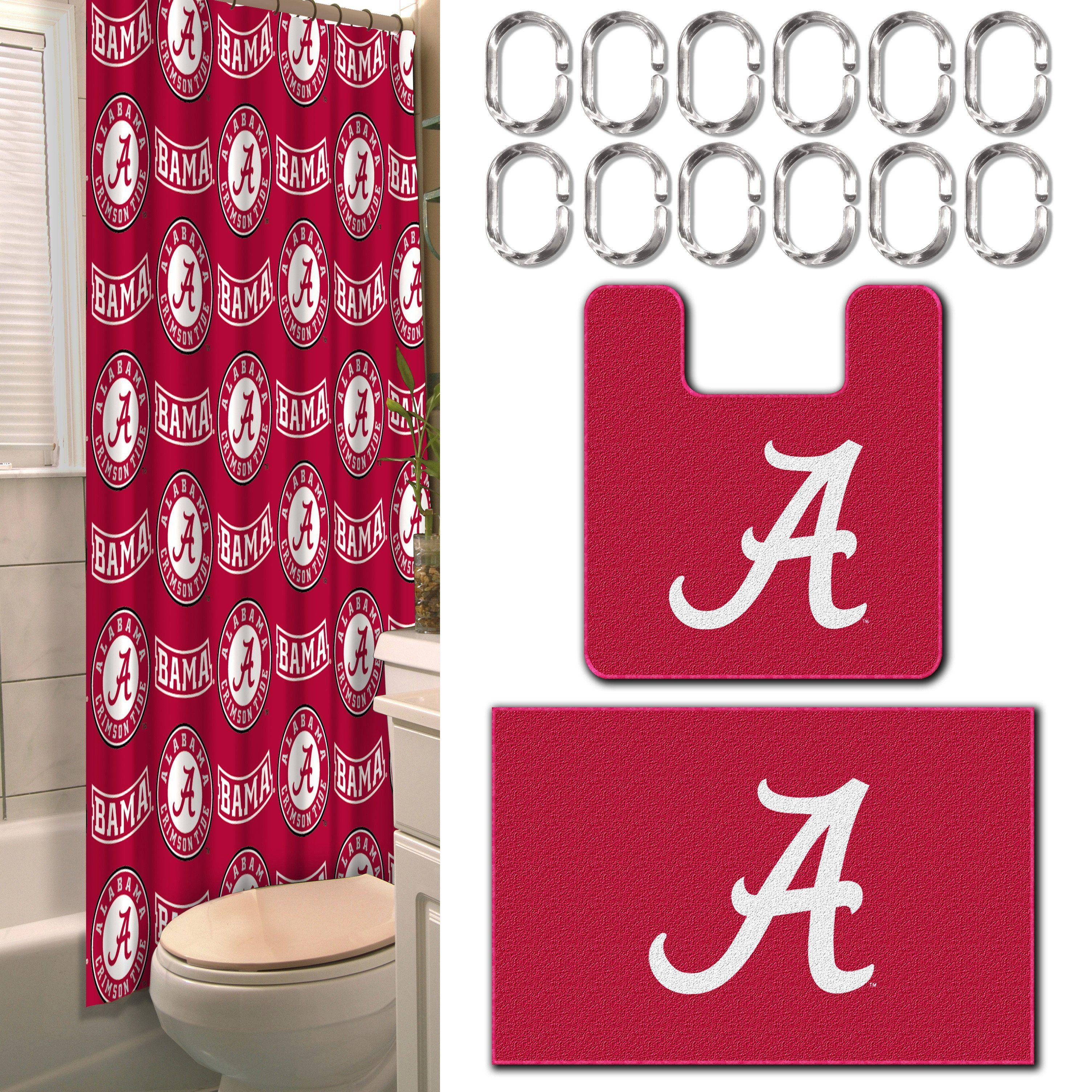 Alabama Collegiate 15 Piece Bath Set 12 2 Shower Curtain Rings