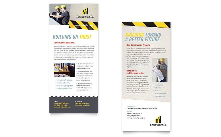 Rack Card Template Microsoft Word Best Of Industrial Mercial Construction Rack Card Template In 2020 Rack Card Templates Rack Card Card Template