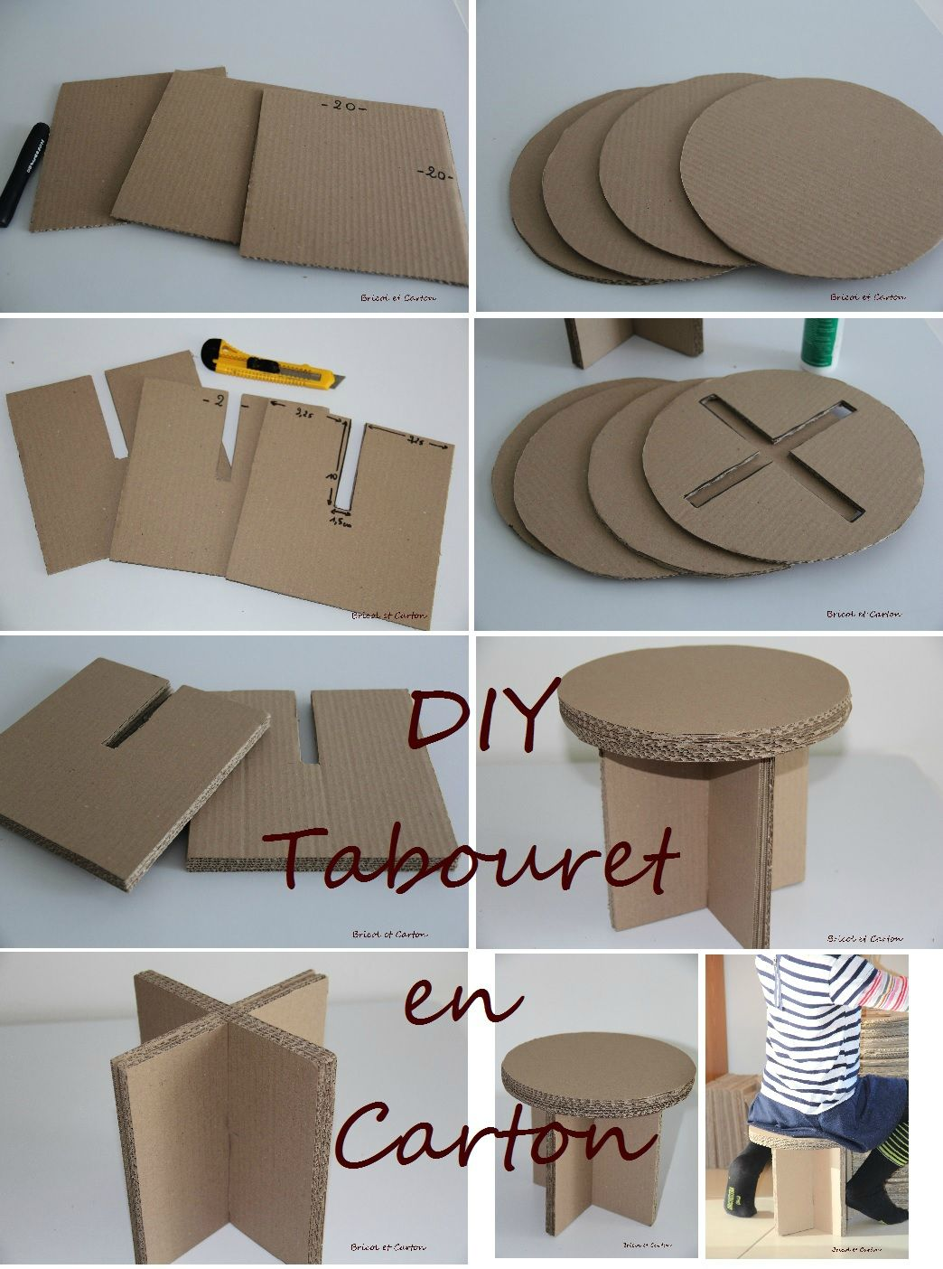 diy tabouret en carton bricol et carton cart n pinterest pappe karton und m bel. Black Bedroom Furniture Sets. Home Design Ideas