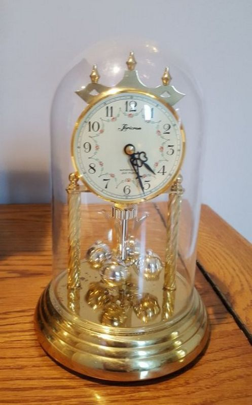 Wood Brass Crystal And Glass Clocks 5 Pcs Total Largest Wood