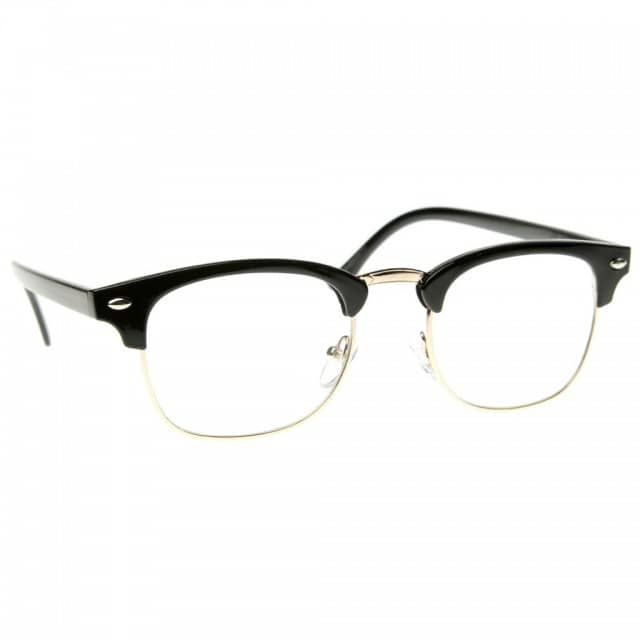 a68ad369c46 Classic nerd retro style framed semi-rimless glasses are dapper fashion  inspired. Hipster fashion soho half frame horned rim glasses with clear  lens.